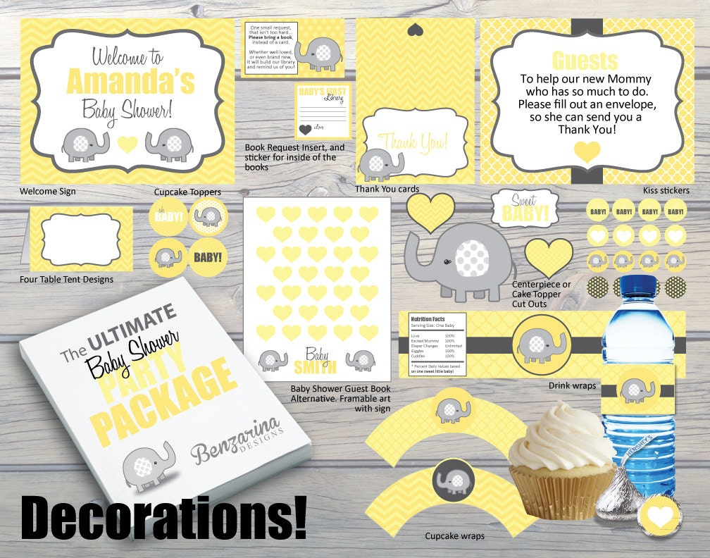 The ultimate baby shower party package complete with for Baby shower decoration packages
