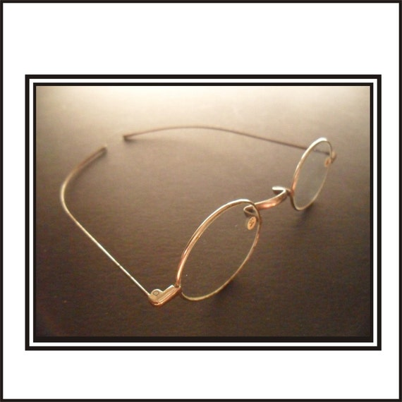 Straight Temple Glasses Frame : Late 1800s Straight Temple Magnifying Glasses 2
