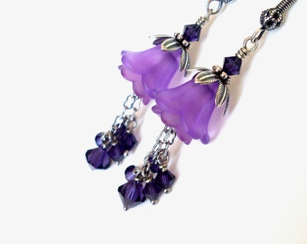 Purple lucite flower earrings – purple crystal chain dangles, lucite flower layered earrings, antiqued silver purple jewelry, flower jewelry