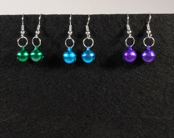Mini Jingle Bells Christmas Holiday Earrings - Your Choice of Color