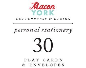 30 Personalized Letterpress Notecards