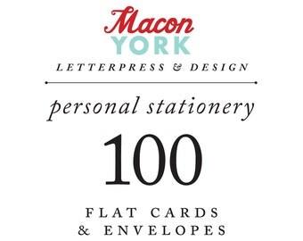 100 Personalized Letterpress Notecards