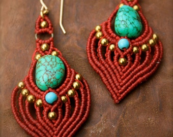 red heart micro macrame tribal boho earrings
