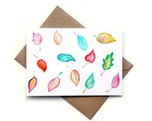 SALE Watercolour Leaves Greeting Card, Any Occasion, Colourful, Floral, Nature, Woodland