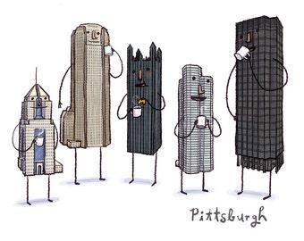 Pittsburgh Skyline Coffee Break- art print