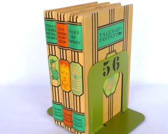 ACID GREEN BOOKENDS/ Small upcycled metal bookends/ Industrial decor
