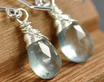 Moss Aquamarine Gemstone Earrings, Wire Wrapped in Argentium Sterling Silver, Blue Green, Kristin Noel Designs