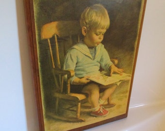 Vintage Decoupage Framed Picture Of Little Boy
