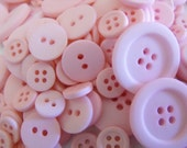 Baby Pink Buttons, 100 Bulk Assorted Round Multi Size Crafting Sewing Buttons