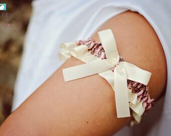 SEXY Realtree Pink Camouflage & Ivory Satin Bling Bridal Wedding Keepsake Or Garter Real Tree Camo True Timber