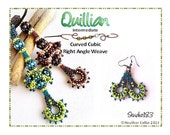 Beading Pattern Curved Cubic Right Angle Weave Pendant with Detachable Elements Tutorial QUILLIAN