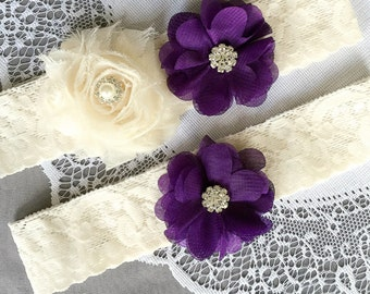 Wedding Garter Set Bridal Garter Set Dark Eggplant Purple Lace Garter Set Ivory Rhinestone Crystal Lace Garter GR130LX
