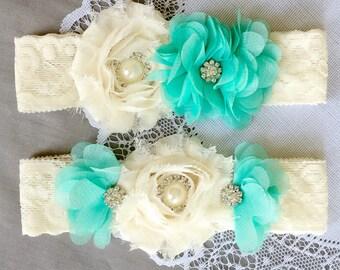 Wedding Garter Bridal Garter TEAL BLUE Garter Set Lace Garter Ivory Rhinestone Crystal Pearl Garter Beach Wedding GR092LX