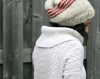 Slouchy Knit Hat in Chevron Pattern/ Wheat and Cranberry/THE CHEVRON SLOUCHY