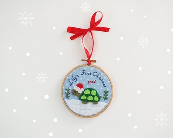 Baby's First Christmas ornament, baby's 1st Christmas, personalized holiday keepsake, Santa turtle, custom baby ornament, holiday décor,
