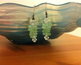 Sterling Silver Stacked Sea Glass Earrings