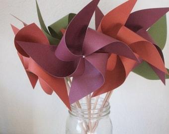 Fall Color Wedding Decorations  - 6 large Pinwheels  (Custom orders welcomed)