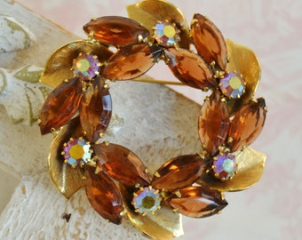 Vintage Amber and Rhinestone Wreath Brooch