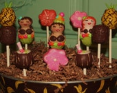 Mom's Killer Cake Pops New Design Hawaiian Hula Girl Luau Themed Cake Pops Pineapple, Tiki & Other Coordinates Available!!