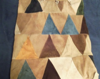 Multi-Colored Suede Leather Triangular Pieces Sewed Together To Make a Purse/Bag, Vintage