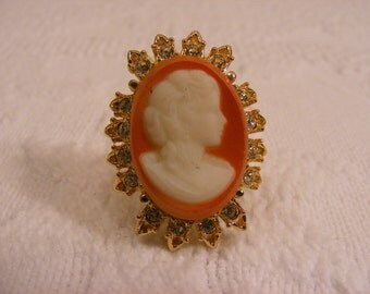 Vintage Orange Glass and Rhinestone Adjustable Ring, Victorian Style Ring, Statement Ring
