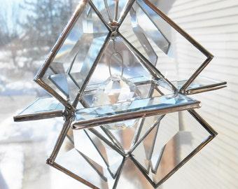 Beveled glass suncatcher 3d glass art original design