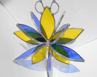 Stained glass yellow blue flower twirl 3d sculpture garden art hanging ornament garden decor home