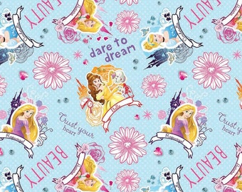 1 yd 12 inches Disney Princess Dare To Dream on Blue cotton fabric by Springs Creative Fabric - last piece