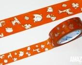 Shinzi Katoh washi tape - orange nursery shapes Japanese Washi Tape - Paper Masking Tape