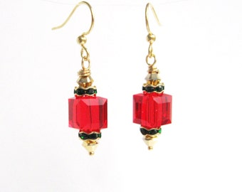 Bright Red and Green Christmas Earrings, Holiday Jewelry, Swarovski Crystal Cube Earrings, Gold, Green and Red Christmas Jewelry Under 20