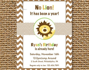 Lion Invitation, Jungle Birthday, Printable Invitation, Safari Invitation, Custom Invitation, Baby Shower, Chevron Invitation, 1st Birthday