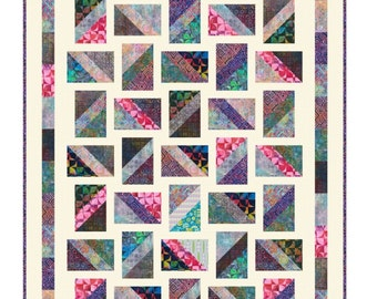 Quilt Pattern - Baguettes - Made with a new Precut called 6 - Pack Tonga Treats -  Quick & Easy Crib to King sizes