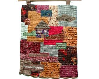Farmhouse decor, Original Folk Art Quilt, Textile Wall Art, Wall Hanging, Rustic home decor, burgundy tan brown, little house on the prairie