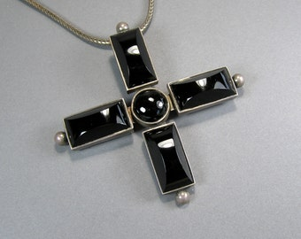 Sterling Mexican Pendant, Statement Necklace, Carved Onyx, on Woven Sterling Chain, Large Cross, Ethnic Jewelry