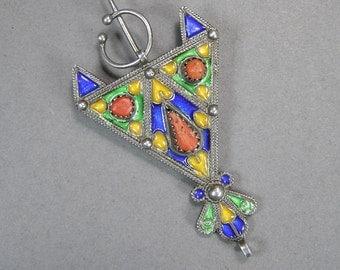 Vintage Berber Fibula, Moroccan Enamel Brooch, Genuine Coral Pendant, Ethnic Jewelry