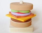 Stacking Toy, Stacking Burger, Build Your Own Sandwich, Waldorf puzzle, Toddler Stacking Toy, games and puzzles