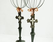 Hatstands - Repurposed from Vintage Metal Lamp Base - Tall Wire Gothic