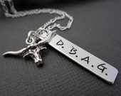 Mens Personalized Gift, Mens Name Necklace, Longhorn Bull Necklace, Longhorn Bull Charm, Western Steer Charm, Mens Jewelry,