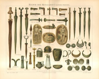 1896 Weapons, Tools and Jewellery of Iron Age and Bronze Age Antique Lithograph