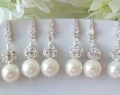 Set of 6 Ivory Pearl Bridesmaid Earrings Pearl and Rhinestone Earrings, 6 Pairs Bridesmaids Earring, Set of 6, Swarovski White or Cream