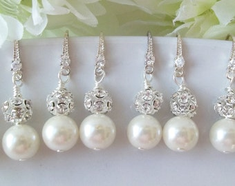 Set of 5 Ivory Pearl Bridesmaid Earrings Pearl and Rhinestone Earrings,5 Pairs Bridesmaids Earring, Set of 5, Swarovski White or Cream