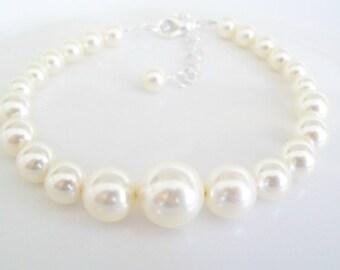 Bridal Bracelet Pearl,Swarovski Pearl Bracelet,Wedding Jewelry,Bridesmaid Jewelry,Ivory Pearl Bracelet,White Pearl Bracelet,Bridal Jewelry