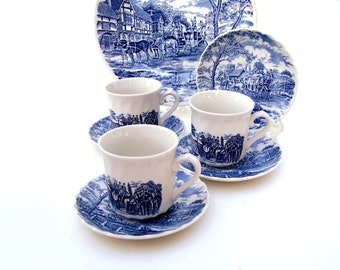 Vintage Tea Cups Blue & White China Royal Wessex Cup and Saucer Coffee Mugs Royal Mail Transferware