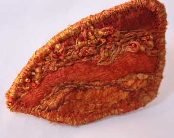 Red Orange Gold YellowFelt Art Brooch Embroidered art pin  shawl scarf pin with bead Accents accessory embroidered felt 3d corsage