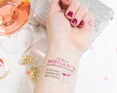Bachelorette Temporary Tattoos, If Lost, Buy Me a Drink, Pack of Personalized Custom Tattoo Favors including Matching Bride Tatt