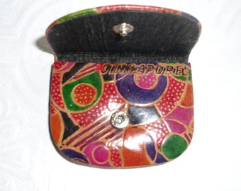 Vintage Change Purse - Tooled and Dyed Leather - Singapore Souvenir - Snap Closure - Vintage Coin Purse