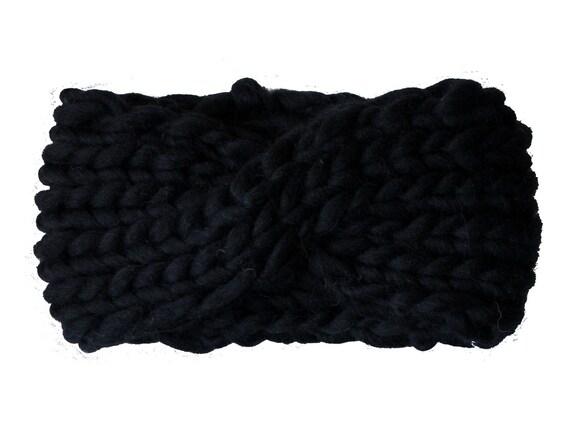 Chunky Knit Headband handmade in ultra thick Merino wool, The Arctic Cross
