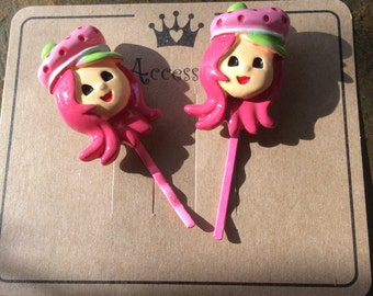 Pink  girl bobby pins ~ hair pins on presentation card unique hair art free shipping unique gifts