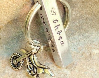 Father's Day Gifts, Motocross Keychain, Personalized Bar Keychain, Gifts for Men, Gifts for Dad, Motocross, Keychain, Hand Stamped Keychain
