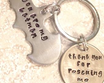 Batman Keychain, Batman Gift, Fathers Day Gift, hand Stamped Superhero Keychain, Boyfriend Gift, personalized Keychain, natashaaloha